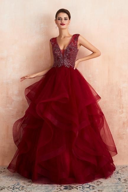 Modern Straps V-neck Ruffled Beaded Puffy Prom Dresses