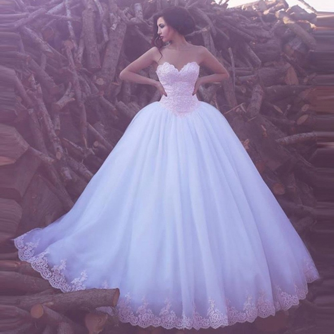 Elegant Appliques Tulle Bridal Gowns Sweetheart Ball Wedding Dresses