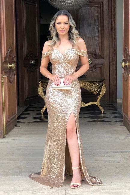 Classic Off Shoulder High Slit Gold Sequined Prom Dresses