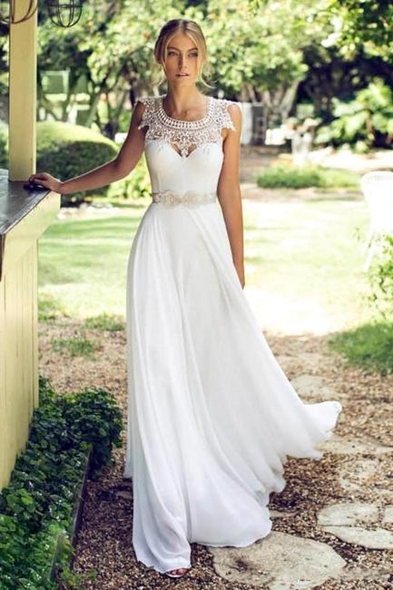 Summer Lace Glamorous Long Chiffon Sleeveless Beach Wedding Dresses