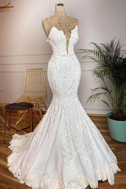 Attractive Deep V Neck Lace Floor Legnth Wedding Dress | Backless Mermaid Bridal Gown