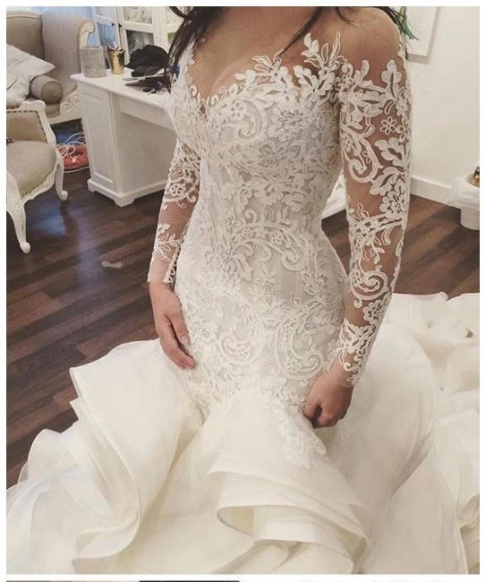 Elegant Organza Mermaid V-Neck Lace Applique Ruffles Wedding Dresses with Long Sleeves