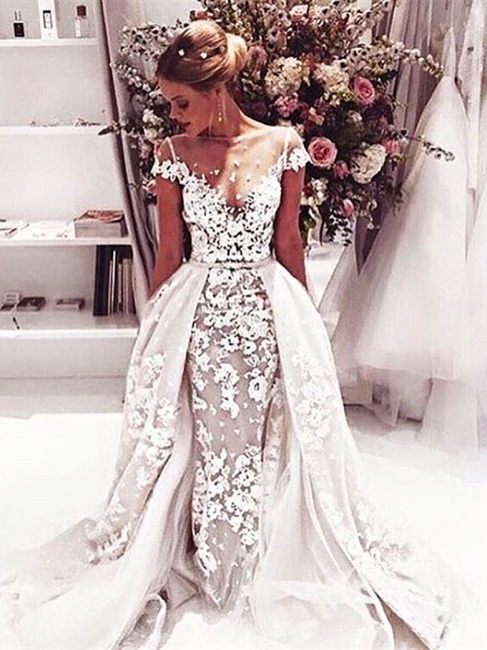 Appliques Cap-Sleeves Open-Back Illusion Lace Popular Overskirt Wedding Dress