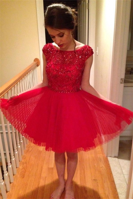 A-Line Cap Sleeves Crystals Short Red Homecoming Dress