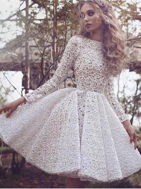 Full Lace Long Sleeves Glamorous White Short Homecoming Dresses PT078