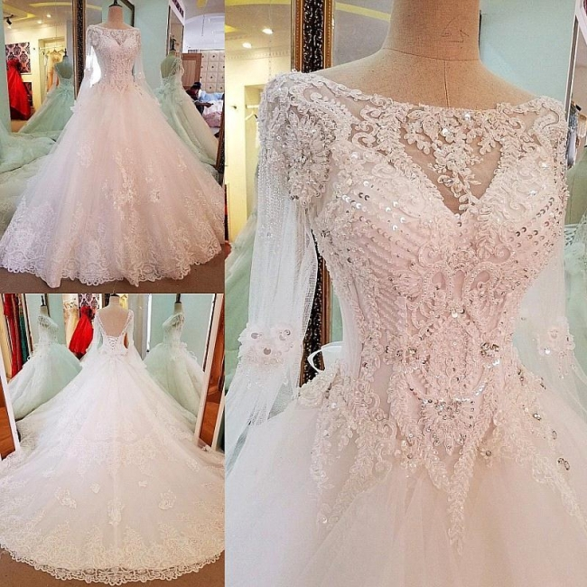 A-line Sequins Sweep Train Long-Sleeves Lace Wedding Dresses