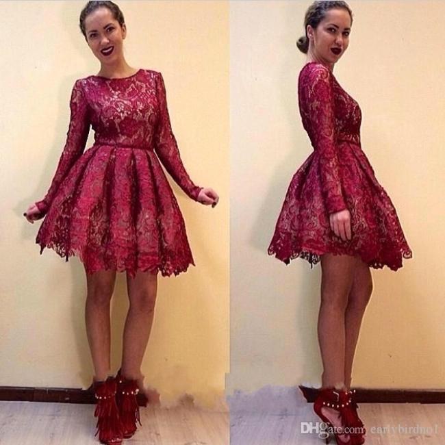 Elegant A-line Long Sleeves Short Burgundy Lace Homecoming Dresses