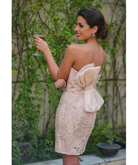 Sexy Sleeveless Mini Bow Sweetheart Lace Homecoming Dress