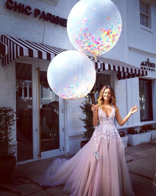 Pink Tulle A-Line Wedding Dresses Deep V-Neck Applique Chapel Train Long Bridal Dresses