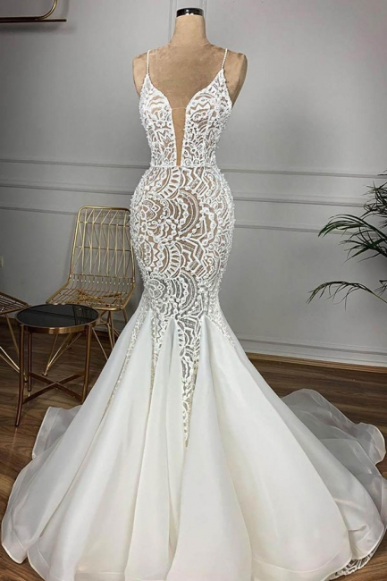 Charming Spaghetti Strap V Neck Lace Fitted Mermaid Wedding Dress