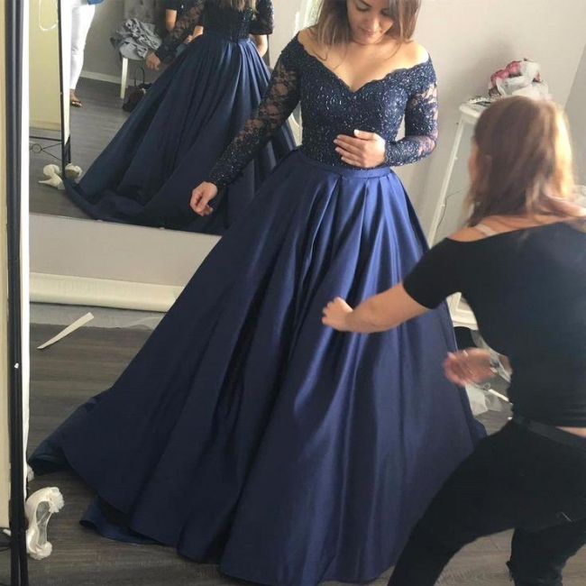 Navy-Blue Elegant Lace Long-Sleeves Off-the-Shoulder Prom Dress