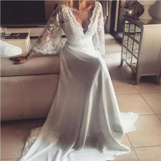 Lace A-Line V-Neck Long Sexy Wedding Dresses