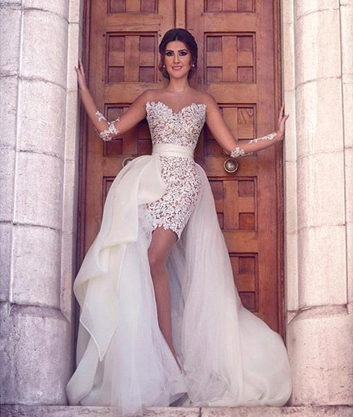 Amazing Hi-lo Detachable Train Illusion Long-Sleeves Sheath Wedding Dresses