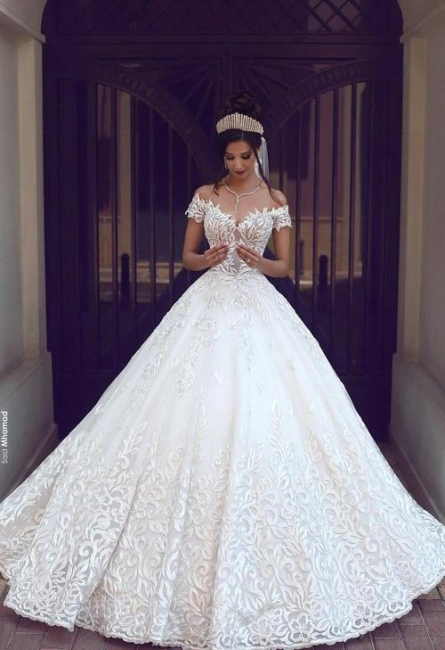 Gorgeous New Long Lace Off-the-Shoulder Short-Sleeve Wedding Dresses