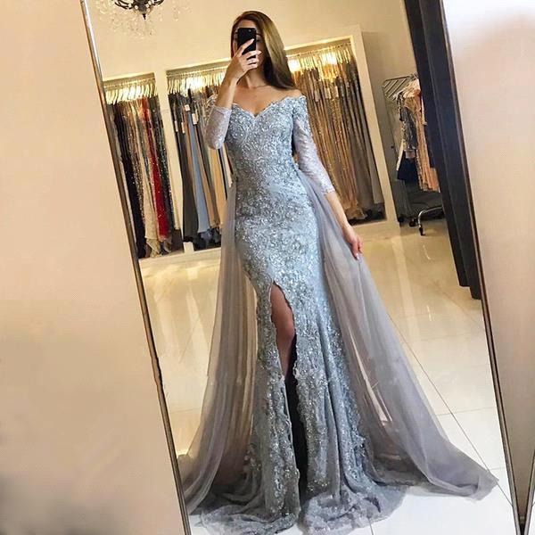 2018 Front-Split Mermaid Lace-Appliques Newest Sweetheart Long-Sleeve Prom Dress SP0345