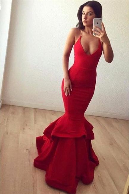 Spaghettis Straps Mermaid Prom Dresses Red Ruffles Sleeveless Long Sexy Sheath Evening Gowns