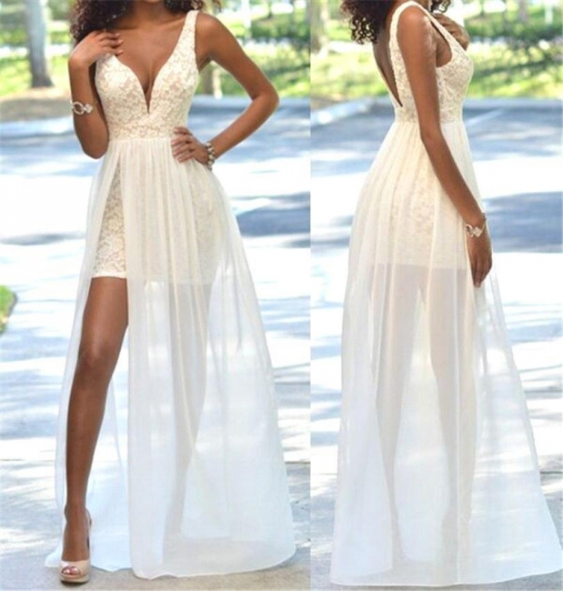 Sexy Lace Sheath Prom Dress Open-Back Sleeveless Deep V-Neck Evening Gowns