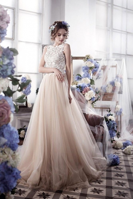 Vintage Tulle Appliques Bridal Gowns Sleeveless Romantic Wedding Dresses