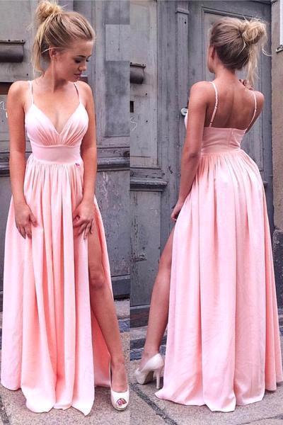 A-Line Pink Simple Side-Slit V-Neck Spaghetti-Straps Prom Dresses