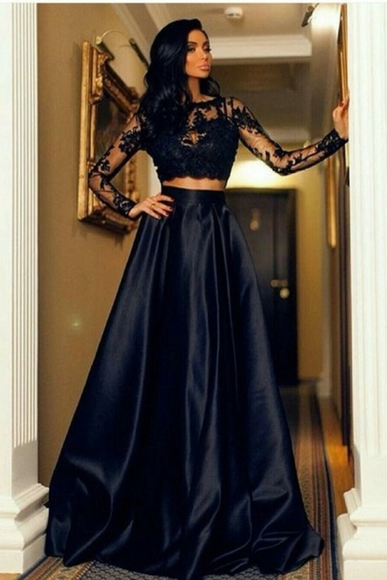 Two-Piece Lace A-line Modern Long-Sleeve Black Prom Dress