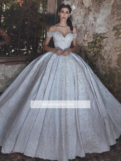 Off-The-Shoulder Ball-Gown Beaded Luxury Lace-Applique Wedding Dresses