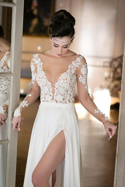 Sheer Tulle Long Sleeves Appliques Wedding Dresses Side Slit Bridal Gowns