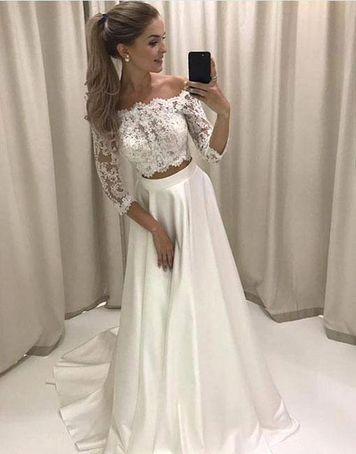 Two-pieces Sweep-train Off-the-shoulder Lace White Wedding Dress