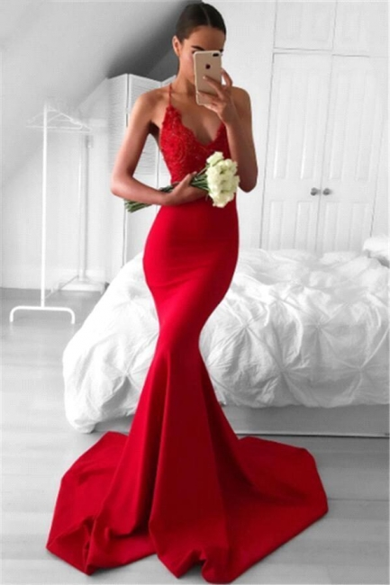 Sexy Red Mermaid Evening Gowns | Spaghettis Straps V-Neck Prom Dresses