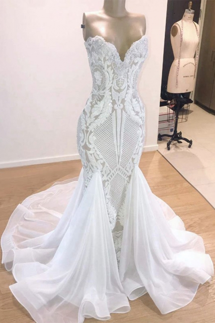 Sexy  Sweetheart Applique Floor Length  Mermaid Wedding Dress | Backless Bridal Gown