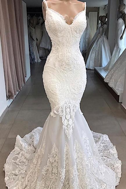 Spaghetti Straps Lace Appliques Sexy Mermaid Wedding Dresses