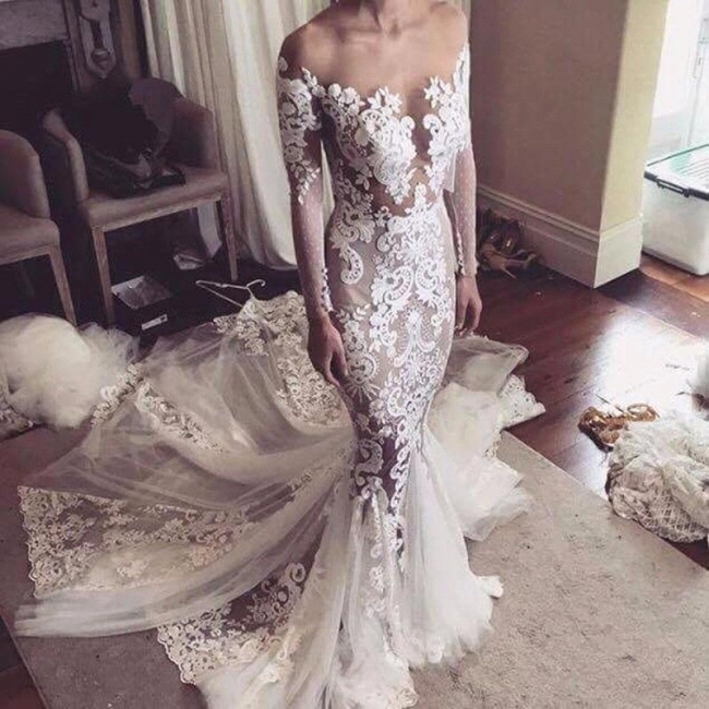 Glamorous Fit and Flare Wedding Dresses | Long Sleeves Appliques Bridal Gowns
