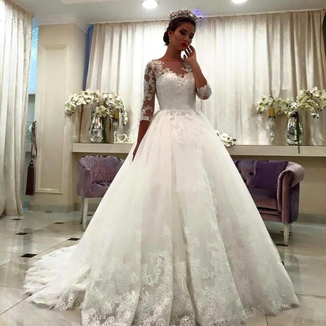 Half Sleeve Bateau Chapel Train Appliques Lace Ball Gown Wedding Dresses