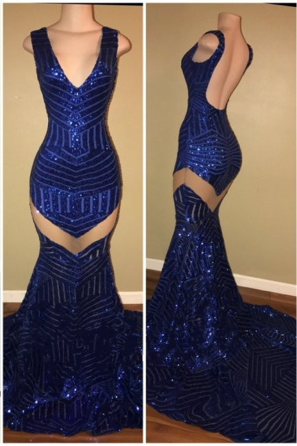 Mermaid Sexy V-neck Backless Sequined Sleeveless Black Prom Dress BA5183