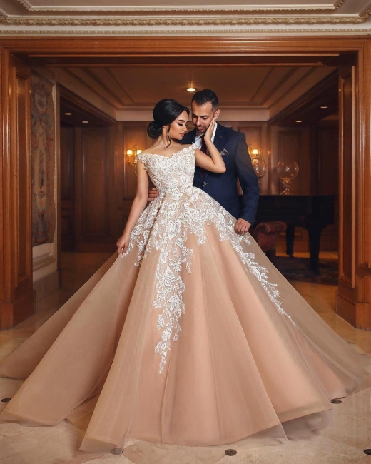 Gorgeous Champagne Off-the-shoulder Ball Gown Wedding Dresses