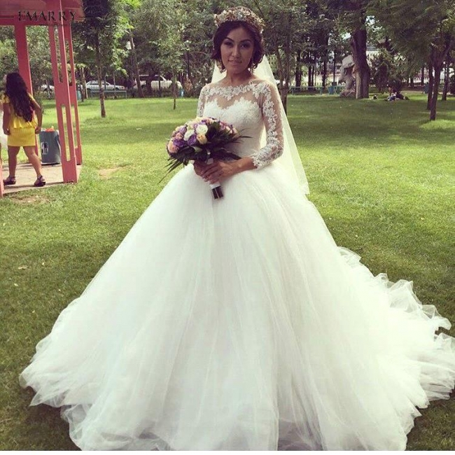 Glamorous Tulle Lace Long-Sleeve Bridal Ball Gown Princess Wedding Dresses