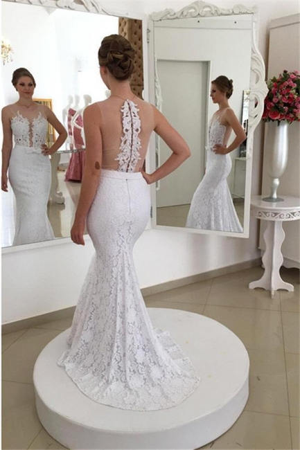 Simple Mermaid White Lace Appliques Sleeveless Wedding Dresses