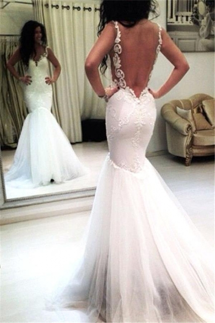 Tulle Appliques Mermaid Sexy Open-Back Sleeveless Wedding Dresses