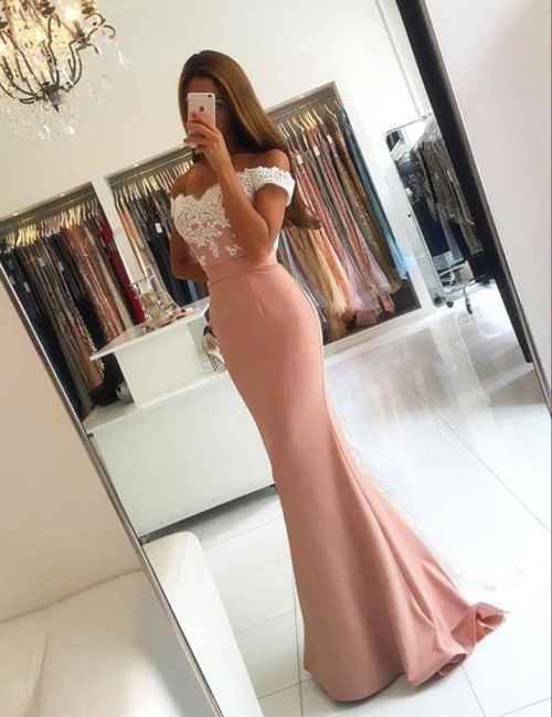Modern Off-the-shoulder Mermaid Prom Dress 2018 Long Lace-Appliques Evening Gowns SP0242