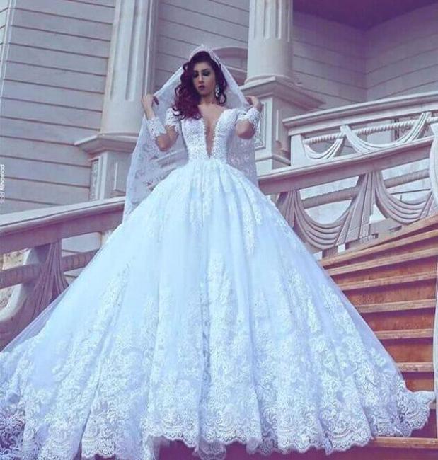 Court-Train Lace Ball-Gown V-neck Long-Sleeve Modest Wedding Dress