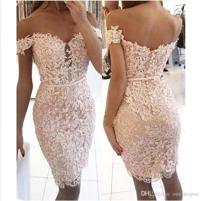 Sexy Short Sheath Off-the-Shoulder Lace Buttons Homecoming Dress