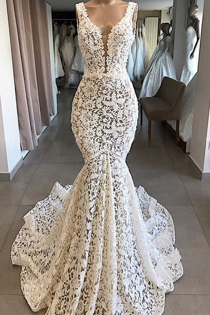 Sexy Straps V Neck Backless Lace Mermaid Wedding Dress