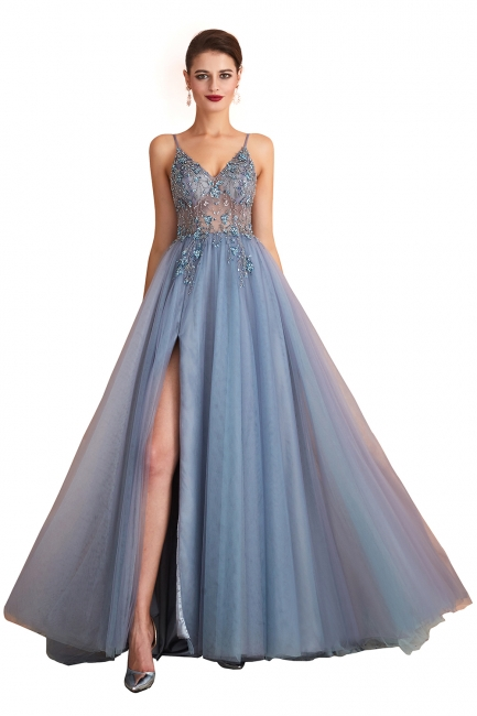 Sexy Spaghetti Straps Sheer A-line Tulle Prom Dresses with Side Slit