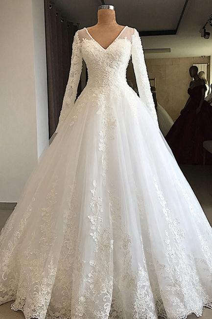 Graceful V Neck Long Sleeve Lace Wedding Dress |  Applique  A Line Bridal Gown