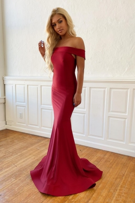 Off the Shoulder Fit and Flare Burgundy Long Classic Prom Dresses