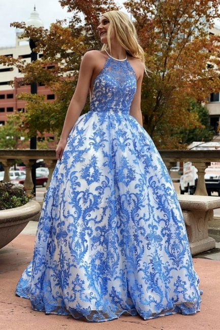 Sleeveless Floor Length Printed Blue Prom Dresses | Gorgeous Ball Gown Party Dresses