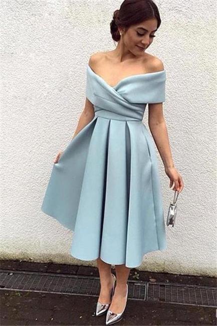 Baby Blue Satin Prom Dress Tea Length Off-the-shoulder Evening Dresses