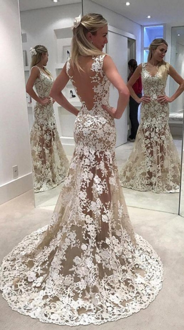 Alluring Sheer Mermaid Wedding Dresses | Lace Open Back Bridal Gowns