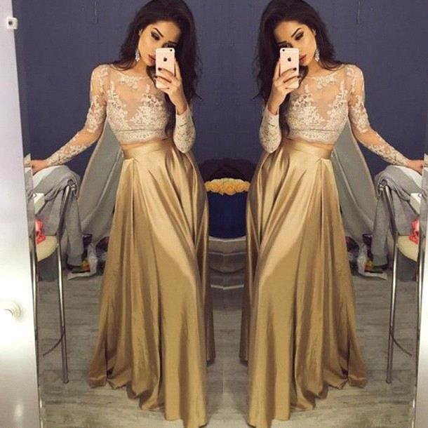 Sexy Gold Two-Piece Long Sleeves Lace A-Line Prom Dresses