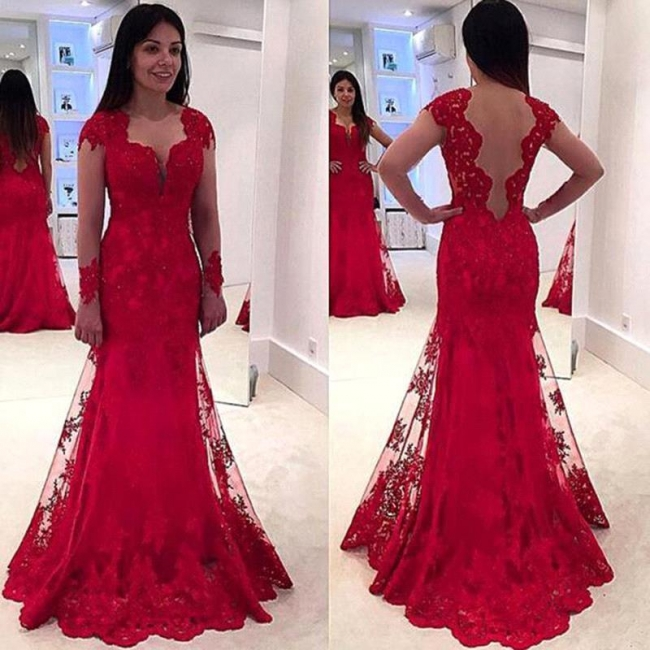 Red Lace Long-Sleeve Sweep-Train A-line Modern Prom Dress