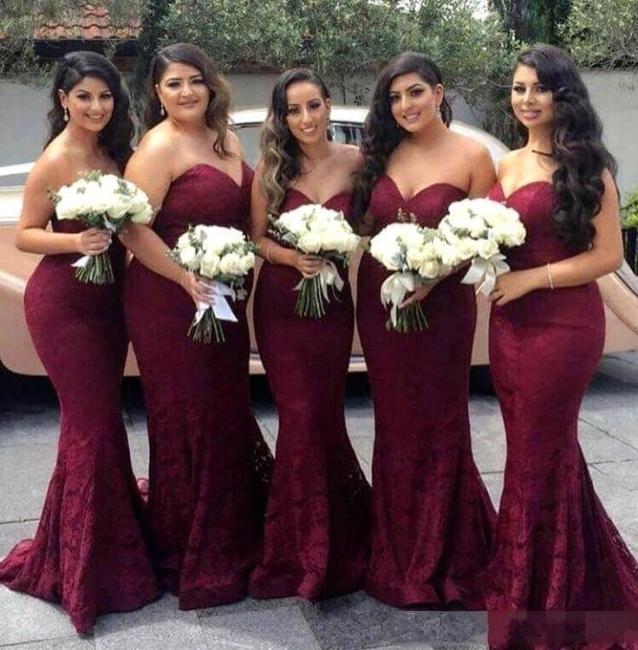 Sweetheart-Neck Lace Long Mermaid Burgundy Bridesmaid Dress